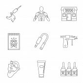 Tattoo Salon Accessory Icon Set. Outline Set Of 9 Tattoo Salon Accessory Icons For Web Isolated On W poster