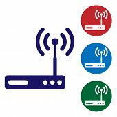 Blue Router And Wi-fi Signal Symbol Icon Isolated On White Background. Wireless Ethernet Modem Route poster
