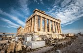 Parthenon On The Acropolis Of Athens, Greece. Ancient Greek Parthenon Is A Top Landmark Of Athens. P poster