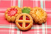 Biscuits On Tablecloth