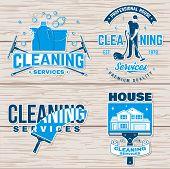 Cleaning Company Badge, Emblem. Vector Illustration. Concept For Shirt, Print, Stamp Or Sticker. Vin poster