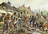 Moscow in 1812 - illustration by artist A.P. Apsit from book