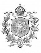 das alte Wappen Brasiliens. Stich von Alwin Zschiesche veröffentlicht am