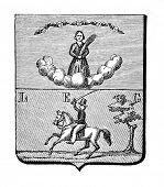 das alte Wappen des spanischen West Indien. Stich von Alwin Zschiesche veröffentlicht am