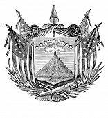 das alte Wappen der Republik von San Salvador (Mittelamerika). Kupferstich von Alwin Zschiesche Pu