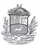 das alte Wappen der Republik Venezuela. Stich von Alwin Zschiesche veröffentlicht am