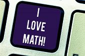 Text Sign Showing I Love Math. Conceptual Photo To Like A Lot Doing Calculations Mathematics Number  poster