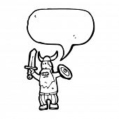 viking attacking with speech bubble