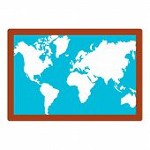Wall World Map Icon. Flat Illustration Of Wall World Map Icon For Web Design poster