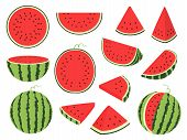Cartoon Slice Watermelon. Green Striped Berry With Red Pulp And Brown Bones, Cut And Chopped Fruit,  poster