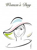 Vector illustration of a beautiful girl wearing hat for International Women's Day.