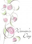 A beautiful greeting card with floral design and copy space on white background for Women's Day.