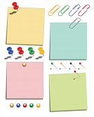 Vector paper message notes complete with paperclips, pins and drawing pin elements