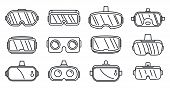 Video Game Goggles Icons Set. Outline Set Of Video Game Goggles Icons For Web Design Isolated On Whi poster