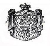 das alte Wappen Montenegros. Stich von Alwin Zschiesche veröffentlicht am