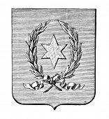 das alte Wappen der Republik Paraguay. Stich von Alwin Zschiesche veröffentlicht am