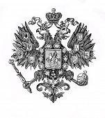 das alte Wappen Russlands. Stich von Alwin Zschiesche veröffentlicht am