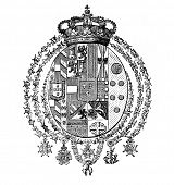 Das alte Wappen von Sizilien (Italien). Stich von Alwin Zschiesche veröffentlicht am