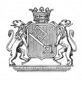 Das alte Wappen von Bremen (Deutschland). Stich von Alwin Zschiesche veröffentlicht am