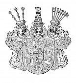 das alte Wappen von Schleswig-Holstein Holsnein (Deutschland). Stich von Alwin Zschiesche veröffentlicht am