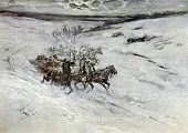 The three of horses goes on winter road. Illustration by artist A.P. Apsit from book