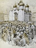 Religious procession. Illustration by artist A.P. Apsit from book