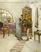 The priest blesses the boy. Illustration by artist A.Apnist from book