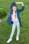 Relax In Park. Autumn Weather. Happy Child Relax Outdoor. Nature Relax. Spring Fashion For Little Gi poster