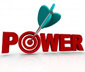 An arrow makes a direct hit in the bulls-eye target in the word Power, symbolizing the strength and