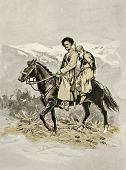 Cossack and his prisoner. Illustration by artist Zahar Pichugin from book