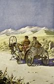 Peasants ride in a horse cart. Illustration by artist Zahar Pichugin from book
