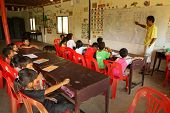 KO CHANG, THAILAND - JANUARY 6: Unknown children in lesson at school by project Cambodian Kids Care