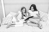 Stories Every Kid Should Read. Children Read Book In Bed. Girls Best Friends Read Fairy Tale Before  poster