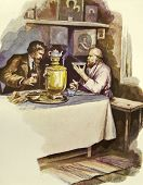 Tea Party. Father sitting at the bedside of his daughter. Illustration by artist Zahar Pichugin from
