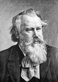 Composer Johannes Brahms. Engraving on steel by from Penne. Published in magazine