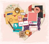 Scrapbook Elements in Love Shape Paper. Valentine's Day Design.