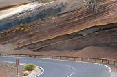 Road in muti-layered colorful coil at Tenerife island, El Teide National Park, Spain