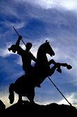 Silhouette Of Saint George Victorious In Victory Park, Moscow, Russia