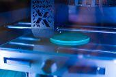 Automatic Three Dimensional 3d Printer Machine Printing Flat Plastic Model At Modern Technology Exhi poster