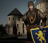 Knight against medieval castle.