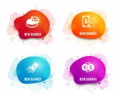 Liquid Badges. Set Of Pie Chart, Fast Payment And Receive Money Icons. Money Exchange Sign. 3d Graph poster