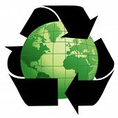 Planet Earth With Recycle Symbol, Environment - Greener World