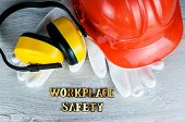 Construction Helmet Is A Symbol Of Safety In The Workplace. Set Of Tools. Safety Concept Selective F poster