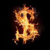Fire alphabet dollar sign