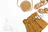 Female Fashion Background. Stylish Trendy Feminine Summer Clothing Set. Shorts, White Jacket, Sandal poster
