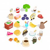 Beverage Icons Set. Isometric Set Of 25 Beverage Vector Icons For Web Isolated On White Background poster