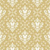 Classic Seamless Vector Pattern. Damask Orient Ornament. Classic Vintage Yellow And White Background poster