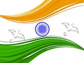 Vector illustration of Indian tricolor flag with flying pigeon and Asoka wheel on white isolated bac