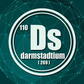 Darmstadtium Chemical Element. Sign With Atomic Number And Atomic Weight. Chemical Element Of Period poster
