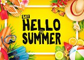 Hello Summer Top View Realistic Vector Banner In Yellow Background With Frame And Tropical Elements  poster